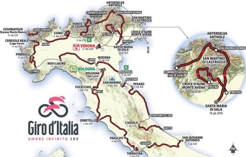 Tour d'Italie - J -3 : pour tout savoir sur le 102e Giro d'Italia