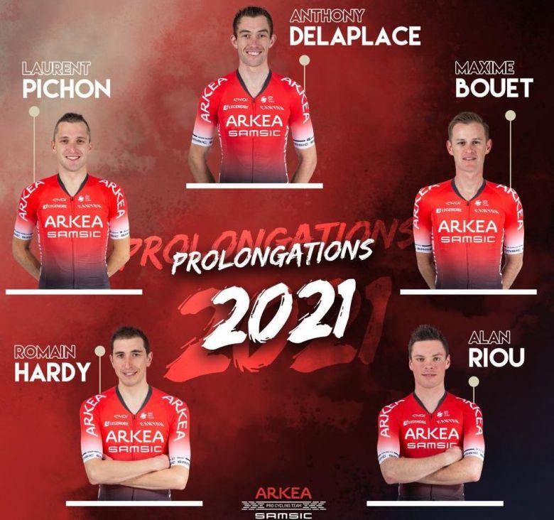Route - Arkéa-Samsic prolonge Bouet, Riou, Delaplace, Hardy et Pichon
