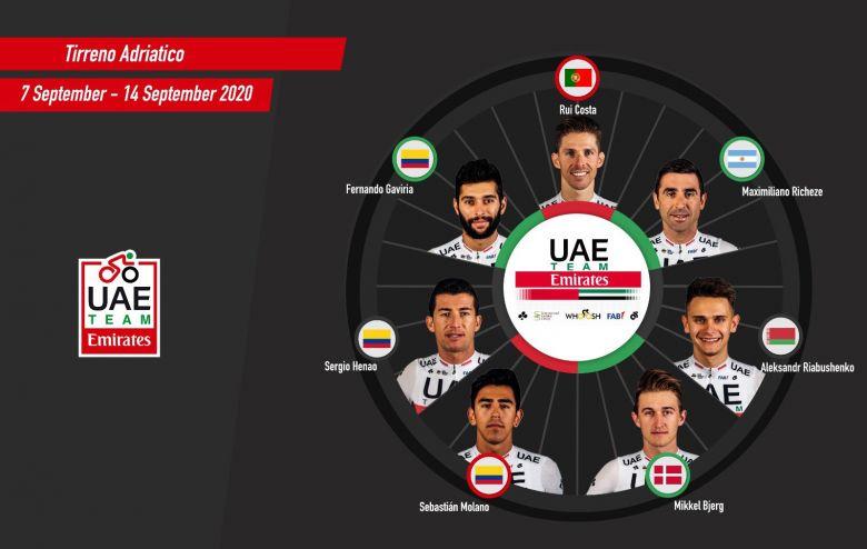 Tirreno-Adriatico - UAE Team Emirates avec Gaviria et Rui Costa