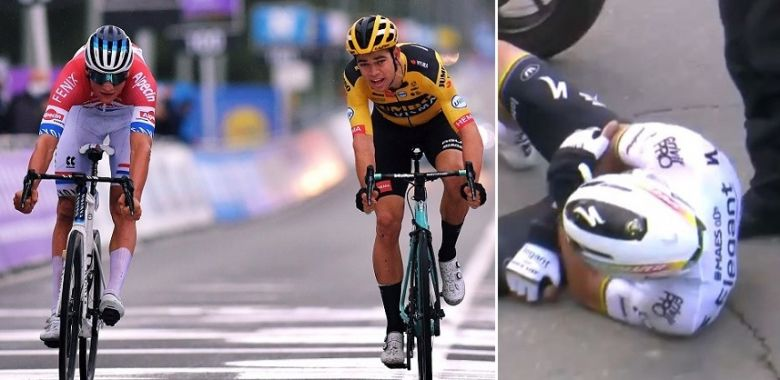 Tour des Flandres - Van der Poel devant Van Aert, Alaphilippe a chuté