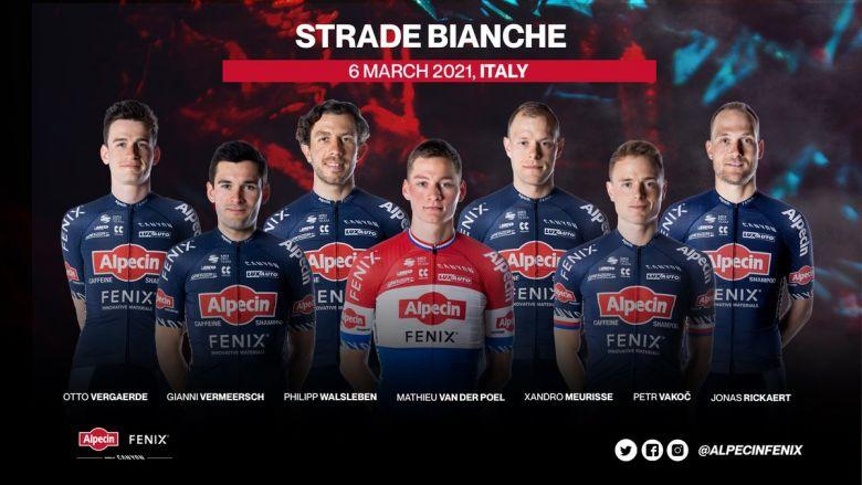 Strade Bianche - L'équipe Alpecin-Fenix autour de Mathieu van der Poel